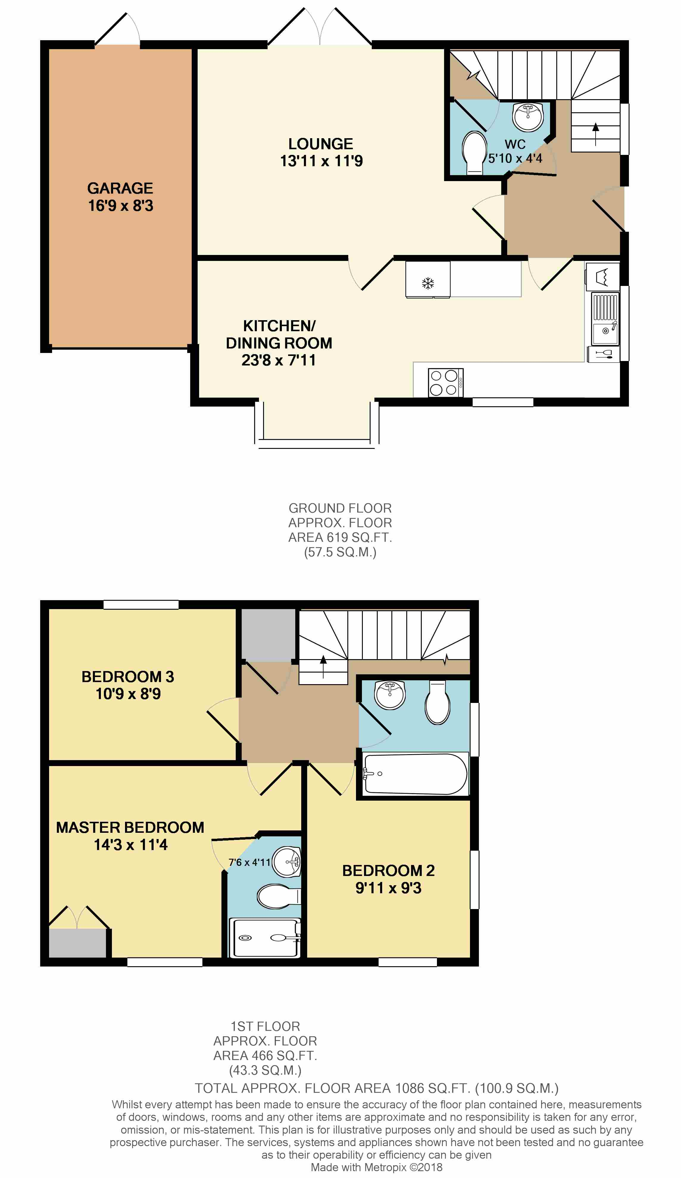 Floorplans For Teeswater Close, Long Lawford, Rugby